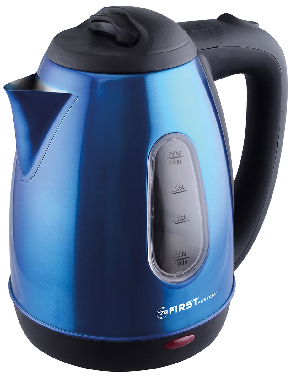First FA-5410-5, Dark Blue электрочайникFA-5410-5 Dark blueЭлектрический чайник First FA-5410-5 Stell прост в управлении и долговечен в использовании. Изготовлен из высококачественных материалов. Мощность 1800 Вт способна вскипятить 1,8 литра воды в считанные минуты. Беспроводное соединение обеспечивает вращение чайника на подставке на 360°. Для безопасности при повседневном использовании предусмотрены функция автовыключения, а также защита от перегрева.