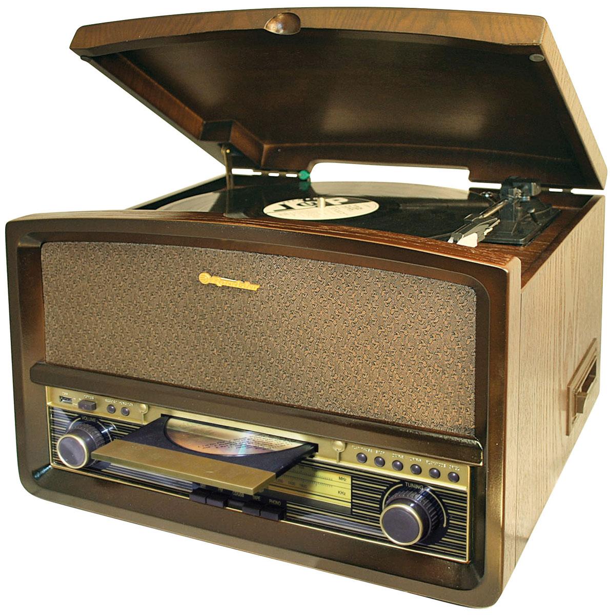 RoadStar HIF-1937TUMPK проигрыватель виниловых дисков1937TUMPKRoadStar HIF-1937TUMPK - оригинальный проигрыватель виниловых пластинок с функцией воспроизведения MP3 файлов с USB флэш-накопителей, воспроизведением аудиокассет, CD дисков и возможностью прослушивания радиостанций в диапазоне FM/MW. Проигрыватель воспроизводит пластинки практически всех типов, а благодаря встроенным стереодинамикам вы сможете слушать музыку без подключения его к акустической системе. Помимо этого он может записывать файлы в MP3 формате на USB накопитель. RoadStar HIF-1937TUMPK безусловно станет актуальным подарком для меломана или просто любителя ретро-дизайна.Выходная мощность: 32 ВтНоминальная выходная мощность (RMS): 2 x 2 Вт