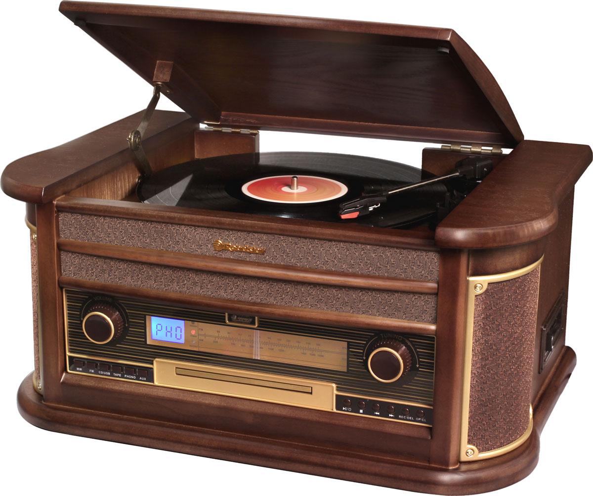 RoadStar HIF-1896TUMPK проигрыватель виниловых дисков1896TUMPKRoadStar HIF-1896TUMPK - оригинальный проигрыватель виниловых пластинок с функцией воспроизведения MP3 файлов с USB флэш-накопителей, воспроизведением аудиокассет, CD дисков и возможностью прослушивания радиостанций в диапазоне FM/MW. Проигрыватель воспроизводит пластинки практически всех типов, а благодаря встроенным стереодинамикам вы сможете слушать музыку без подключения его к акустической системе. Помимо этого он может записывать файлы в MP3 формате на USB накопитель. RoadStar HIF-1896TUMPK безусловно станет актуальным подарком для меломана или просто любителя ретро-дизайна.Выходная мощность: 40 ВтНоминальная выходная мощность (RMS): 2 x 2,5 Вт