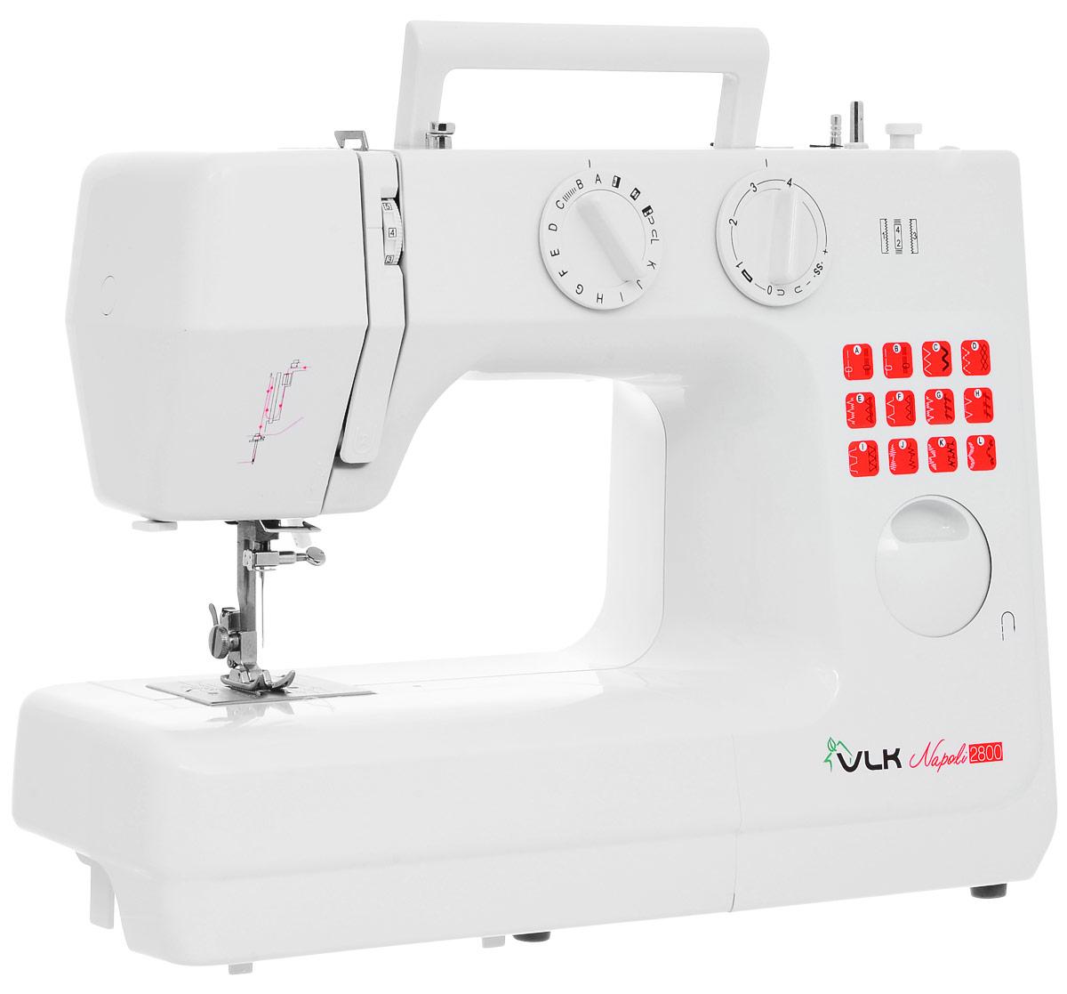 VLK Napoli 2800 швейная машинкаVLK Napoli 2800Швейная машина VLK Napoli 2800 относится к электромеханическому типу с вертикальным челноком. Вы можете работать с тканями любой толщины и различных видов. Одним из важных достоинств модели является наличие 24 программ шитья, которые помогут справиться с рукоделием даже неопытному человеку.Машинка в полуавтоматическом режиме сделает петли на одежде, способна шить двойной иглой или в нескольких направлениях, что значительно расширяет ее возможности. Встроенная подсветка позволит работать с прибором даже в темное время суток. В комплекте вы получите распарыватель, шпульки, различные виды лапок, а также инструмент для заправки нити и держатель для катушки с нитками.
