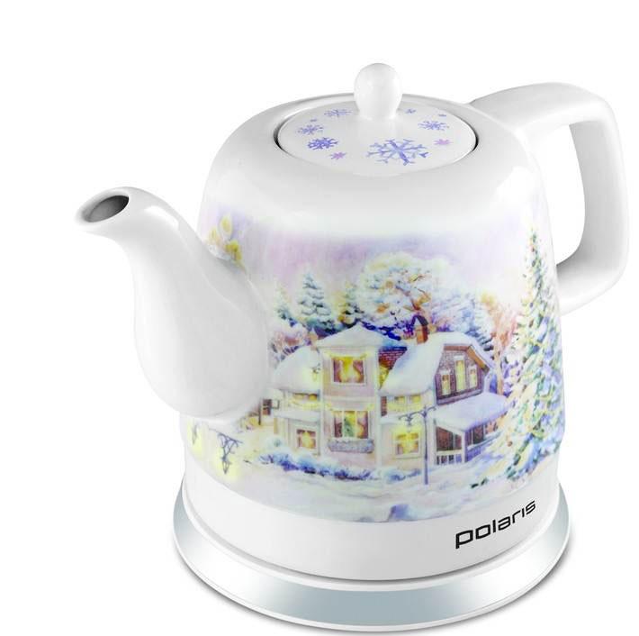 Polaris PWK 1299CCR электрический чайникPWK 1299 CCRЧайник Polaris PWK 1299CCR – это керамический электрочайник с ярким новогодним дизайном. Такой необычный подарок легко выделится под елкой и станет центром рождественских посиделок в кругу семьи. Корпус чайника выполнен из экологически чистой керамики, которая сохраняет полезные и вкусовые качества воды. Благодаря природным свойствам керамики кипяток дольше остается горячим. Чайник Polaris PWK 1299CCR оснащен встроенным скрытым нагревательным элементом. Это снижает образование накипи и упрощает очистку, продлевая тем самым срок службы чайника. Новинка оснащена автоматическим и ручным выключателем, индикаторной лампочкой и отсеком для хранения шнура. Прибор вращается на круглой подставке-базе на 360 градусов, поэтому вы без труда сможете повернуть его в любую сторону.