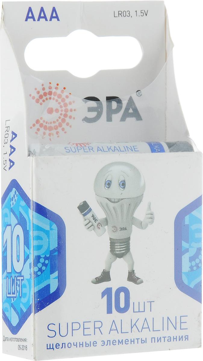 Батарейка ЭРА Super Alkaline, тип ААА (LR03), 1.5V, 10 штБ0002728Алкалиновые батарейки ЭРА Super Alkaline являются щелочными элементами питания. Они не содержат кадмия и ртути. Батарейки предназначены для использования в приборах с высоким потреблением электроэнергии: фотоаппаратах, плеерах, фонарях, игрушках и других устройствах. Внимание!При установке проверить полярность. Не разбирать, не перезаряжать, не подносить к открытому огню. Не давать детям! Не устанавливать одновременно новые и использованные батарейки, а также батарейки различных систем и типов.