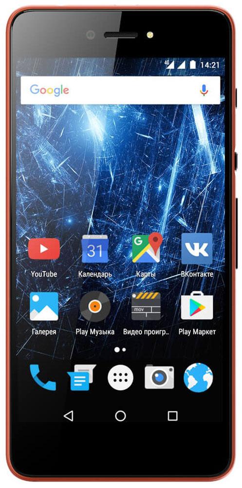 Highscreen Razar, Red Orange23845Highscreen Razar - компактный смартфон с прекрасной селфи-камерой.В борьбе за технические характеристики многие производители забывают уделить внимание дизайну. Highscreen считает дизайн одним из главных преимуществ, ведь испытывать приятные эмоции от взаимодействия со своим смартфоном - это прекрасно.Продуманная эргономика, мягкие изгибы корпуса и минимальная толщина 7.6 мм - все это Razar.Сдвиньте вниз специальную кнопку HiSlide, и камера запустится. В одно движение переключайтесь между основной и фронтальной камерами, а чтобы сделать фото просто нажмите кнопку громкости вниз. Эта функция незаменима при съемке селфи или в холодное время года, когда так не хочется снимать перчатки.Широкоугольная 5 Мпикс фронтальная камера Highscreen Razar позволяет захватить как можно больше объектов в кадре, а встроенная технология улучшения изображения поможет скрыть недостатки или изменять цвет в реальном времени. Основная камера на 8 Мпикс использует увеличенный размер пикселя 1.2 мкм, что на 30% больше обычного, а диафрагма F2.0 позволяет получать качественные снимки даже при низком освещении.Highscreen Razar обладает ярким пятидюймовым AMOLED-дисплеем с бесконечным уровнем контрастности, а защищает его прочное стекло Gorilla Glass 3.Razar поддерживает все современные беспроводные технологии, включая сверхбыстрый интернет 4G/LTE и российскую спутниковую систему ГЛОНАСС.Телефон сертифицирован EAC и имеет русифицированный интерфейс меню и Руководство пользователя на русском языке.