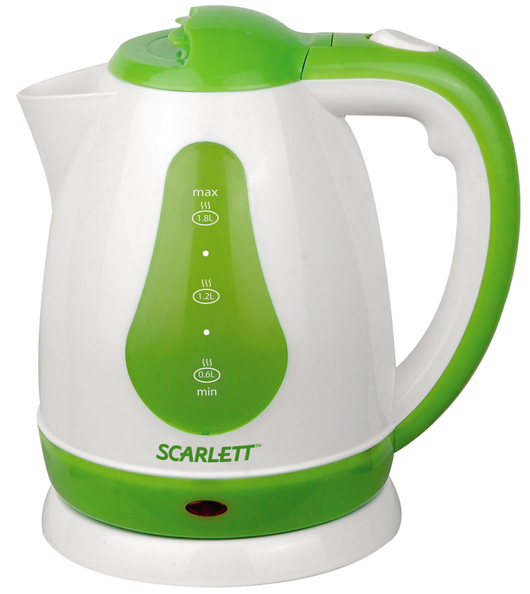 Scarlett SC-EK18P30, White Green чайникSC-EK18P30Электрический чайник Scarlett SC-EK18P30 покорит сердца всех любителей эстетичного чаепития! С белым корпусом, украшенным зелеными вставками, подчеркивающими основные элементы устройства чайник станет настоящим украшением кухни или офиса. Крышка плотно прилегает к резервуару и защищает от обжигания горячим паром. Вскипятить воду в чайнике объемом 1,8 литра буквально в считанные минуты возможно благодаря мощности прибора 1700 Вт.