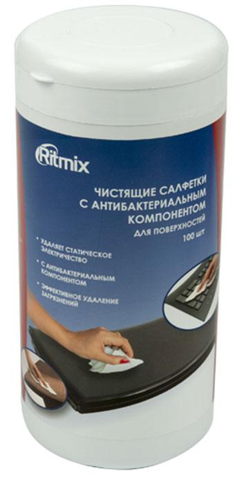 Ritmix RC-100TPA средство для ухода за электроникойRC-100TPAСалфетки Ritmix RC-100TPA предназначены для очистки пластиковых, ламинированных поверхностей компьютеров, аудио-, видео- и бытовой техники, мебели и любых других поверхностей.Способ применения:Открыть клапан.Достать салфетку.Плотно закрыть клапан (во избежание высыхания тщательно закрывайте клапан упаковки).Обработать поверхность.Условия хранения:Вскрытую упаковку плотно закрывать.Вскрытую упаковку использовать в течение 4-х месяцев.Хранить вдали от источников тепла и не подвергать воздействию прямых солнечных лучей.Хранить в недоступном для детей месте.Хранить в отапливаемых помещениях при температуре от 0 до +25 градусов по Цельсию.