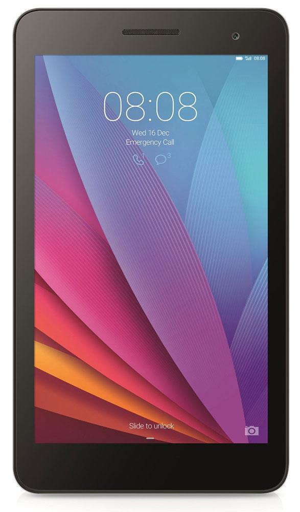 Huawei MediaPad T1 7 3G, Silver Black53017623Huawei MediaPad T1 7 3G можно использовать как смартфон и как планшет. Благодаря универсальным габаритам, планшетом легко управлять одной рукой. В компактном корпусе собраны самые необходимые функции: голосовые вызовы, SMS-сообщения, проигрывание видео, игры и удобный поиск в Интернете.Корпус MediaPad T1 7 3G создан из сплава алюминия и магния, что делает его прочным и лёгким. Закругленные края обеспечивают удобство использования, а цветовое решение подчёркивает элегантность линий. Универсальный размер экрана 7 прост и удобен в использовании: благодаря тонкому корпусу 8,5 мм и весу всего 278 г его легко носить в кармане или сумке.IPS экран планшета MediaPad T1 7 3G отображает весь спектр цветов Adobe RGB и гарантирует яркое, контрастное изображение. Huawei MediaPad T1 7 3G гарантирует высокое качество связи и стабильное соединение, где бы вы ни находились. Скорость загрузки файлов до 21 Мбит/с.Операционная система Android 4.4 и собственная разработка компании, оболочка EMUI 3.0, позволит настроить планшет под себя. Размер иконок, темы, статистика и множество персональных настроек.Планшет сертифицирован EAC и имеет русифицированный интерфейс, меню и Руководство пользователя.
