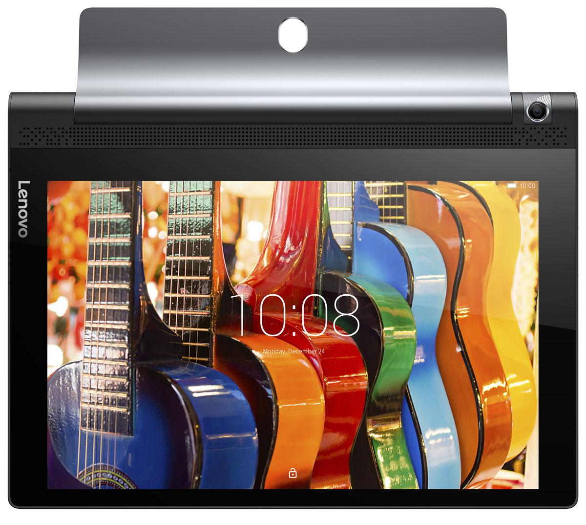 Lenovo Yoga Tab 3 10 (YT3-X50M), BlackZA0K0021RUПросматривайте рецепты, когда готовите, проверяйте новости в социальных сетях во время обеда и смотрите фильмы во время тренировок. В инновационной конструкции планшета Lenovo Yoga Tab 3 цилиндрический аккумуляторный блок и подставка расположены сбоку устройства, благодаря чему центр тяжести смещен и устройство можно использовать в различных режимах: книга, клавиатура, консоль и картина.HD-разрешение экрана планшета Lenovo Yoga Tab 3 превращает его в идеального помощника для игр и веб-серфинга. Невероятная яркость обеспечивает отличное качество изображения под любым углом просмотра и при любом освещении. Изображение в играх четкое, а видео просто приятно смотреть.Lenovo Yoga Tab 3 обеспечивает насыщенный объемный звук уровня домашнего кинотеатра, которым не может похвастаться ни один планшет. Два встроенных фронтальных динамика дарят мощное объемное звучание благодаря поддержке технологии Dolby Atmos. Громкий, чистый и живой звук — даже без наушников!Попробуйте новые возможности для съемки чудесных фотографий или общения по Skype c новой восьмимегапиксельной камерой планшета Lenovo Yoga Tab 3, способной поворачиваться на 180 градусов и обеспечивающей высокую четкость изображений. Система контроля жестами позволит вам принять нужную позу и сделать снимок, просто взмахнув рукой.Lenovo Yoga Tab 3 работает все дольше благодаря аккумулятору, бьющему все рекорды времени автономной работы. С возможностью работы до 18 часов без подзарядки вы сможете посмотреть два сезона вашего любимого сериала от начала и до конца.Технология Lenovo AnyPen определяет любое токопроводящее устройство в качестве стилуса. Это очень удобно, когда вы используете планшет для записи заметок, зарисовок или просто не хотите пачкать экран грязными руками!Lenovo Yoga Tab 3 обеспечивает поддержку высокоскоростных сетей 4G-LTE для мобильной передачи данных исети Wi-Fi для стабильного подключения на большом расстоянии.Планшет сертифицирован EAC и имеет русиф