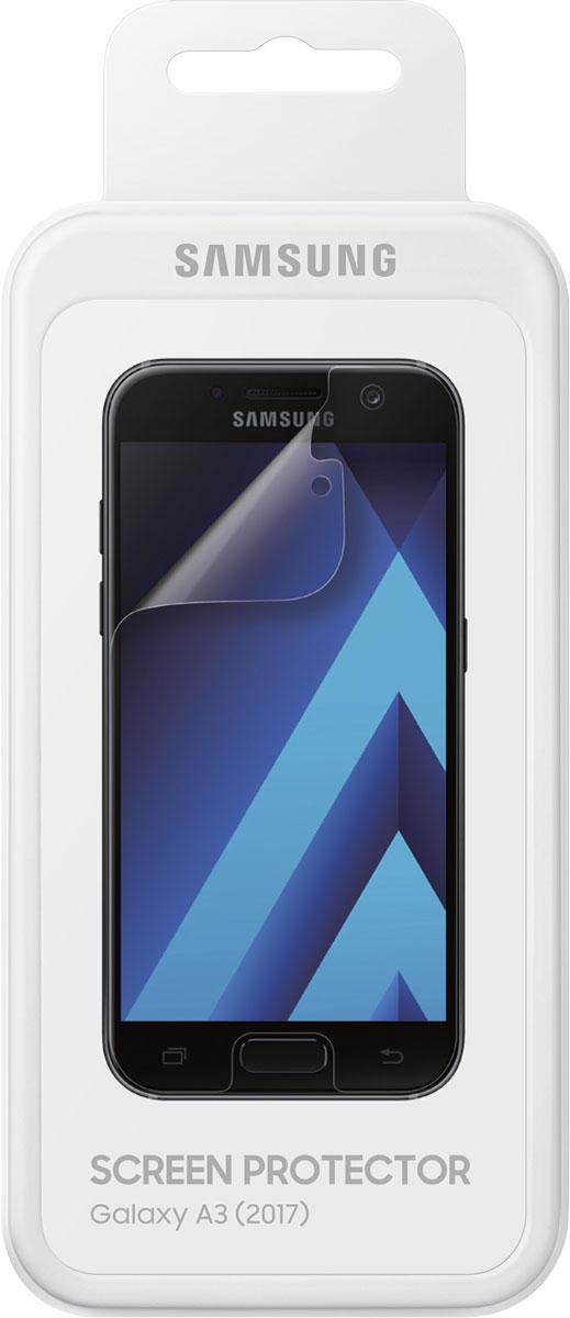 Samsung ET-FA320 защитная пленка для Galaxy A3 (2017), 2 штET-FA320CTEGRUЗащитная пленка Samsung ET-FA320 предназначена для защиты поверхности экрана Galaxy A3 (2017) от царапин, потертостей, отпечатков пальцев и прочих следов механического воздействия. Структура пленки позволяет ей плотно удерживаться без помощи клеевых составов и выравнивать поверхность при небольших механических воздействиях. Пленка практически незаметна на экране смартфона и сохраняет все характеристики цветопередачи и чувствительности сенсора. На защитной пленке есть все технологические отверстия.