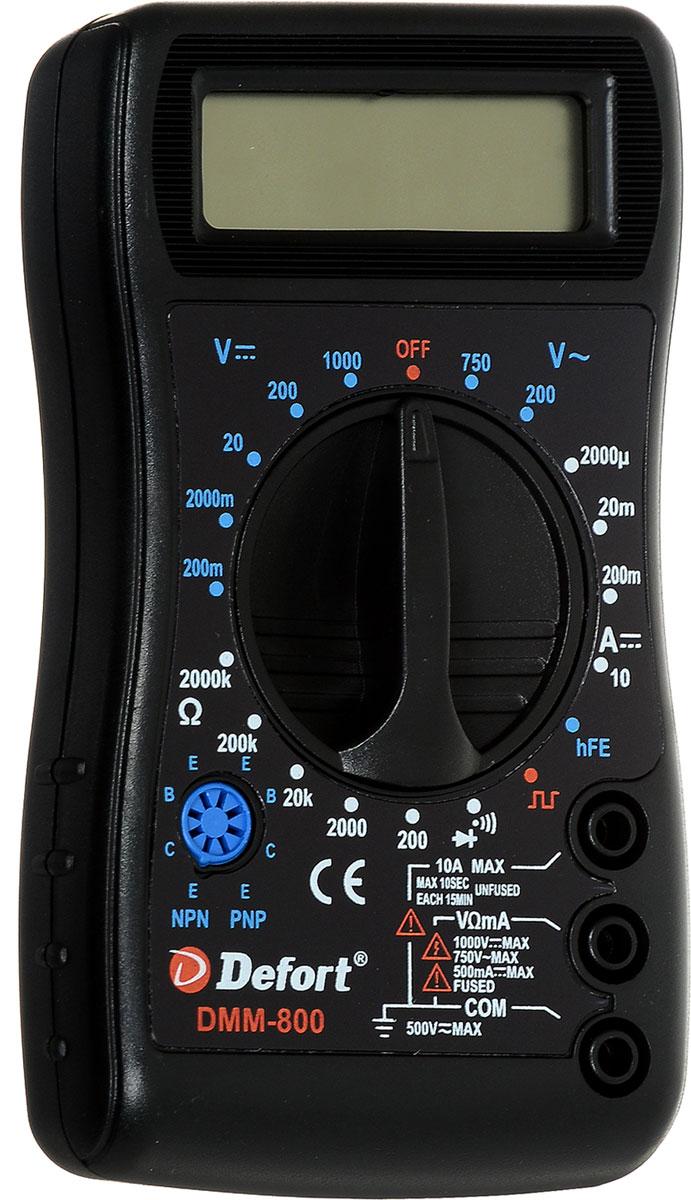 Мультитестер цифровой Defort DMM-80098295719Мультитестер цифровой Defort DMM-800 предназначен для измерения напряжения постоянного тока (V DC), силы постоянного тока (A DC), напряжения переменного тока (V AC), сопротивления (Ом), для проверки диодов, а также непрерывности электрических цепей (прозвонки).Напряжение постоянного тока: 0-1000 В.Напряжение переменного тока: 0-750 В.Постоянный ток: 0-10 А.Сопротивление: 0-2 МОм.Масса: 0,196 кг.