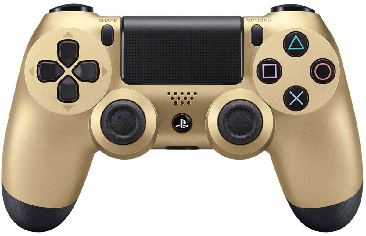 Sony DualShock 4 Cont, Gold геймпад для PS41CSC20002704Беспроводной контроллер Sony DualShock 4 оснащен подсветкой тачпада, совпадающей по цвету с подсветкой тыльной стороны контроллера. Это дает геймерам новый источник информации, например, о том, за какого персонажа они играют или о его уровне здоровья. Кроме того, новый DualShock 4 поддерживает возможность подключения через USB в дополнение к уже имеющейся возможности подключения с помощью Bluethooth, что позволяет пользователям осуществлять управление через кабель.Встроенный емкостный тачпад определяет 2 точки касания. Сенсоры движения представлены шестиосевой системой отслеживания движений (трехосевой гироскоп,трехосевой акселерометр).Встроенный моно-динамикРазъемы: microUSB, разъем для наушников, порт расширенияВерсия Bluetooth: v2.1+EDRТачпад: определяет 2 точки касания, отдача кликом, емкостныйКлавиши/ Переключатели: кнопка PS, кнопка Share, кнопка Options, кнопки направления (Вверх/Вниз/Влево/Вправо), кнопки действия (Треугольник, Круг, Крестик, Квадрат), кнопки R1/L1/R2/L2, левый стик/кнопка L3, правый стик кнопка R3, кнопка тачпада
