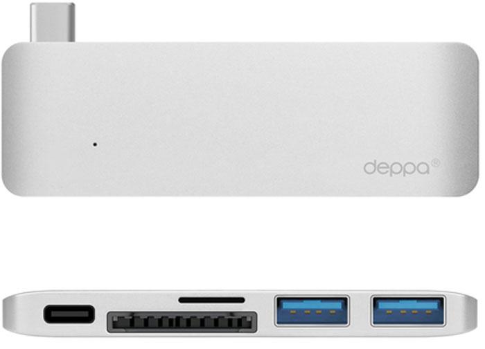Deppa Ultra book USB Type C, SilverадаптердляMacbook72218Одновременное подключение к MacBook нескольких устройств с разъемами USB-A, USB-C и карт памяти формата SD/microSD.