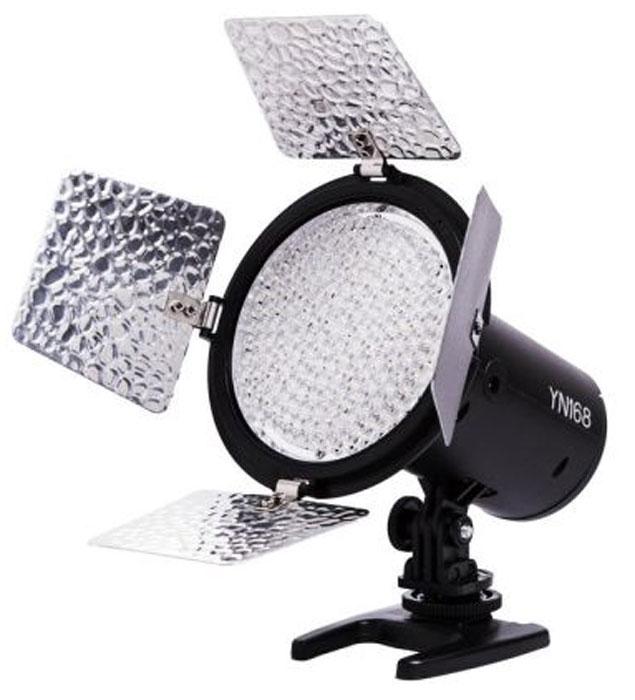 YongNuo YN-168 осветитель светодиодный для фото и видеокамерYN-168Светодиодный осветитель YongNuo YN-168 предназначен для использования при фото и видео съемке как источник постоянного дополнительного или основного света. При установке на камеру в качестве накамерного светильника улучшает освещаемую сцену и дает ровную и сильную заливку. Идущие в комплекте фильтры позволяют менять цвет светового потока. Благодаря компактным размерам осветитель удобен в использовании и при транспортировке.Световой поток: 2280 ЛмЦветовая температура: 5500K Эффективная дистанция: 5 метров Фильтры в комплекте: белый, красный, синий, желтый Питание: от 6 батарей типа АА или от аккумуляторов типа Sony NP-F550 / F570 / F750 / F960 / F970 или их аналогов, от сети 220В (в комплект не входит)