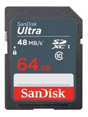 SanDisk Ultra SDHC UHS-I 64GB карта памяти (48 МБ/с)SDSDUNB-064G-GN3INСохраняйте больше фото и видео в формате Full HD, копируйте их на компьютер быстрее с использованием карт памяти SanDisk Ultra SDXC UHS-I. Они идеально подходят для компактных цифровых фотоаппаратов и видеокамер базового и среднего уровня, обеспечивая скорость чтения до 48 МБ/с, что вдвое превосходит скорость обычных карт памяти SDXC. А значит, вы сможете быстрее переносить отснятые фото. Карты памяти SanDisk Ultra SDXC UHS-I устойчивы к воздействию влаги, экстремальных температур, рентгеновских лучей и ударов. На этикетке можно делать пометки о содержимом, чтобы искать нужную карту было удобнее.Превосходно подходят для съемки видео в формате FULL HDКарты памяти SanDisk Ultra SDHC UHS-I соответствуют классу скорости 10 в режиме видео в формате Full HD (1080p). Удобство и высокое качество видеосъемки любых событий, будь то семейный праздник, спортивный матч или школьный спектакль.Объем памяти до 64 ГБКарты памяти SanDisk Ultra SDHC UHS-I емкостью до 64 ГБ позволят вам снять больше фото и видео, не меняя карту и не перенося файлы на компьютер.Надежная конструкцияКарты памяти SanDisk Ultra SDHC UHS-I отличаются водонепроницаемостью, ударопрочностью, устойчивостью к перепадам температур и воздействию рентгеновских лучей. Не бойтесь делать снимки у бассейна или проходить предполетный досмотр в аэропорту: с дорогими для вас фотографиями ничего не случится.Карты памяти SanDisk Ultra SDHC UHS-I совместимы с устройствами, поддерживающими карты памяти SDHC.