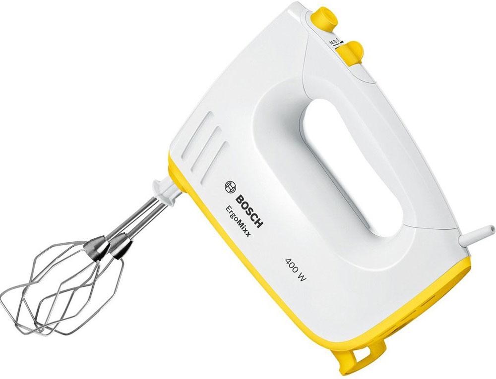 Bosch MFQ36300Y миксерMFQ36300YМиксер Bosch MFQ36300Y, сочетающий в себе белый и желтый цвета, создает особое, приподнятое настроение при приготовлении пищи и выпечки. Мощный и в тоже время тихий мотор 400 Ватт легко справляется с взбиванием сливок и замешиванием теста. В комплекте две пары практичных насадок, которые гарантируют идеальный результат работы. Для большего удобства данная модель снабжена кнопкой легкого отсоединения насадок. Удобно держать в руке и комфортно работать благодаря эргономичной ручке и малому весу прибора. Высокое качество Bosch гарантирует, что миксер прослужит вам долгое время.