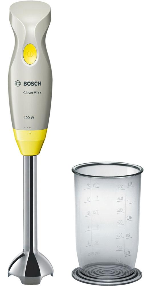 Bosch MSM2410Y блендерMSM2410YПогружной блендер Bosch MSM2410Y позволит вам готовить с удовольствием. Устройство обеспечивает быстрый результат и отличное качество благодаря мощному мотору 400 Ватт. В комплекте вы найдете прозрачный мерный стакан, при помощи которого удобно отмерять нужное количество продуктов и смешивать их непосредственно в стакане. Небольшой вес прибора и эргономичная форма ручки созданы для комфортной работы. Bosch MSM2410Yсмешивает и измельчает продукты качественно и без брызг благодаря специальной конструкции погружной части.
