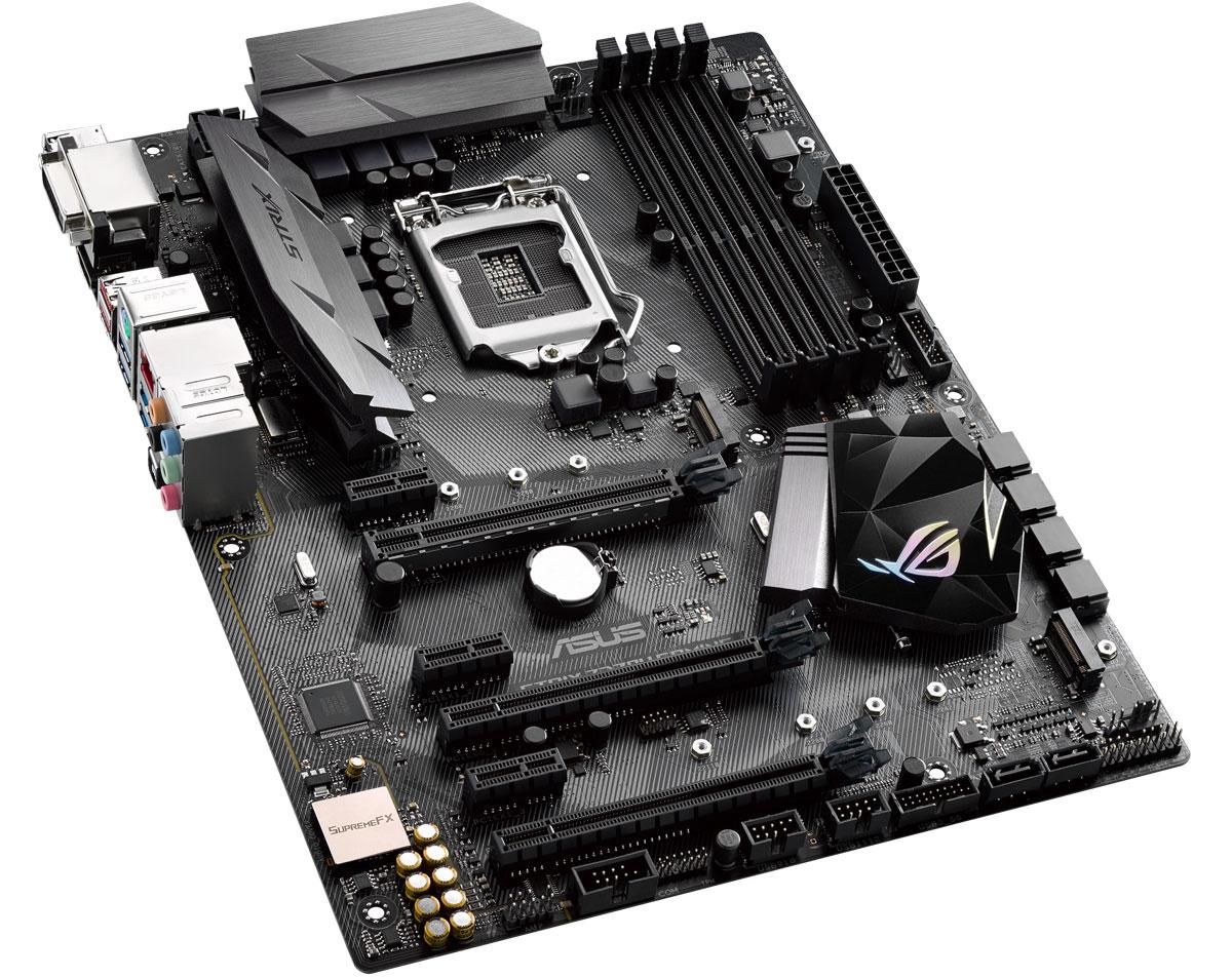 ASUS ROG Strix Z270H Gaming материнская плата90MB0SS0-M0EAY0Asus ROG Strix Z270H Gaming - геймерская ATX-плата для платформы Intel LGA 1151 с технологией 5-Way Optimization, поддержкой DDR4 3866 МГц, двумя разъемами M.2, портами SATA 6 Гбит/с, HDMI и USB 3.1 Type-C.Данная модель базируется на чипсете Intel Z270 и имеет 4 слота для оперативной памяти типа DDR4. Поддерживаются модули ОЗУ типа UDIMM. Максимальный объём памяти может достигать 64 ГБ.Слотов расширения всего шесть: один PCI Express 3.0 x16, один PCI Express 3.0 x8 (физически x16), один PCI Express 3.0 x2 (физически x16) и три PCI Express 3.0 x1. Силами чипсета плата поддерживает 6 портов SATA 6 Гбит/с и два M.2 Socket 3.Материнская плата может похвастать высококачественной аудиосистемой ROG SupremeFX, которая обеспечивает надлежащее качество полезного сигнала, характеризуется превосходным соотношением сигнал/шум и гарантирует максимальный комфорт при прослушивании аудиоконтента на ПК.Поддержка элементов, распечатанных на 3D-принтере5-Way Optimization - технология пятисторонней оптимизации параметров.Аудиотехнология ROG SupremeFX - два усилителя для наушников, технологии Sonic Studio III и Sonic Radar III.Сетевые функции - лучший в классе сетевой контроллер Intel Gigabit Ethernet и фирменные технологии ASUS LANGuard и GameFirst.ASUS SafeSlot - усиленное крепление слотов PCIe.