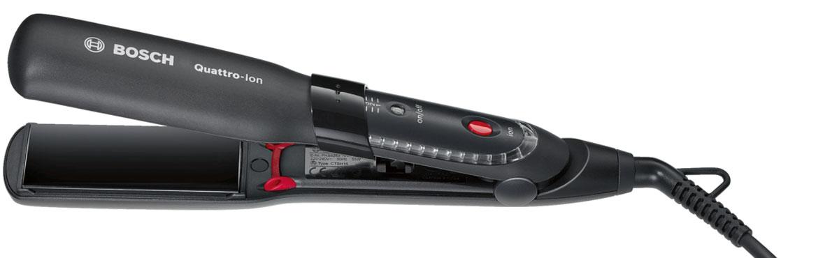 Bosch PHS5263 выпрямитель для волосPHS5263Выпрямитель для волос Bosch PHS5263 имеет технологию Quattro-Ion: мощный сфокусированный поток ионов, который подается из 4-х каналов при этом обволакивает и защищает волос со всех сторон.Стильная круговая красная подсветка при активации 4-х канальной ионизации. Удобная индивидуальная настройка температуры в зависимости от типа волос и суперширокие пластины для быстрого и эффективного выпрямления волос. Все это есть в Bosch PHS5263.Также есть анодированное покрытие нагревательных элементов для равномерного распределения тепла и бережной укладки.