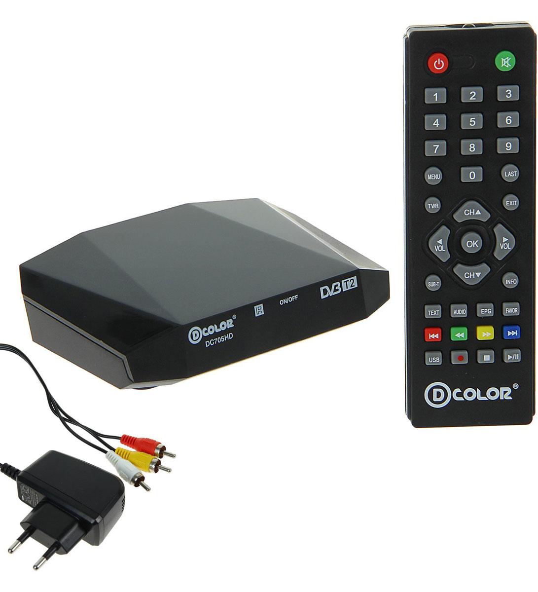 D-Color DC705HD DVB-T2 цифровой ТВ-тюнер4603725280878Цифровой ТВ-тюнер D-Color DC705HD отвечает всем самым современным требованиям к цифровым ресиверам. Новейшее ПО и качественные комплектующие позволяют передавать четкую, яркую, сочную картинку даже в самых отдаленных регионах России.Процессор: Ali 3821Тюнер: R836Тип корпуса: пластик