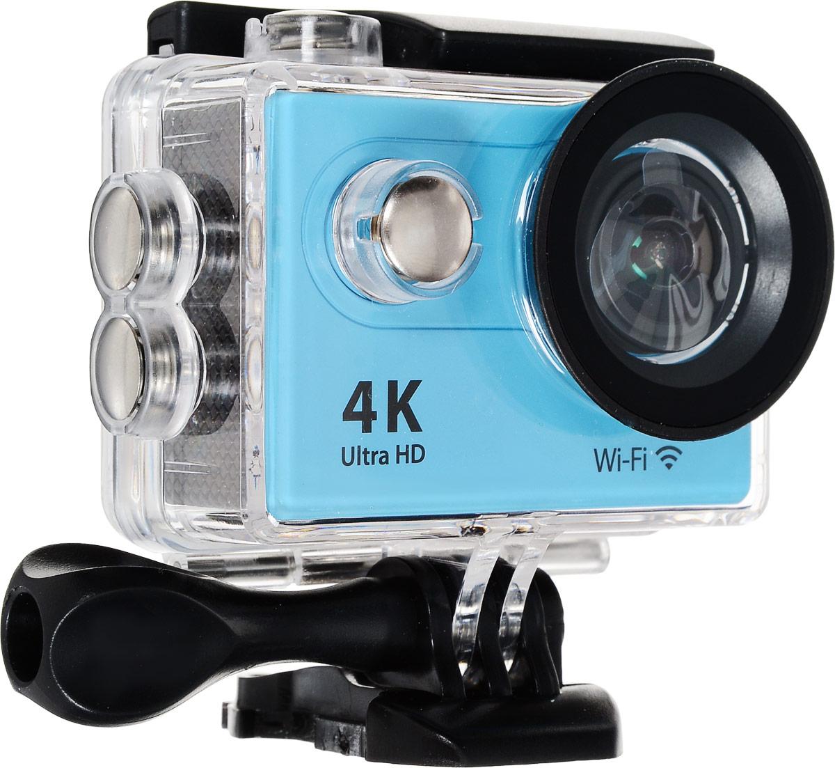 Eken H9 Ultra HD, Blue экшн-камераH9Экшн-камера Eken H9 Ultra HD позволяет записывать видео с разрешением 4К и очень плавным изображением до 30 кадров в секунду. Камера оснащена 2 TFT LCD экраном. Эта модель сделана для любителей спорта на улице, подводного плавания, скейтбординга, скай-дайвинга, скалолазания, бега или охоты. Снимайте с руки, на велосипеде, в машине и где угодно. По сравнению с предыдущими версиями, в Eken H9 Ultra HD вы найдете уменьшенные размеры корпуса, увеличенный до 2-х дюймов экран, невероятную оптику и фантастическое разрешение изображения при съемке 30 кадров в секунду!Управляйте вашей H9 на своем смартфоне или планшете. Приложение Ez iCam App позволяет работать с браузером и наблюдать все то, что видит ваша камера.