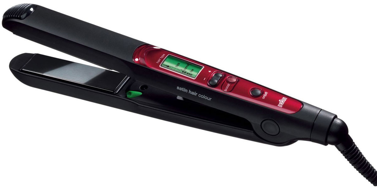 Braun Satin Hair Colour ES3, Red Black выпрямитель для волос63546700Braun Satin Hair Colour ES3 - функциональный выпрямитель для волос различного типа.Благодаря широкому температурному диапазону прибор справляется с непослушными и тонкими локонами. Керамическое покрытие пластин не повреждает волосы, бережно сохраняя их природную структуру.В приборе предусмотрена функция подачи холодной воздушной струи, все изменения выводятся на ЖК-дисплей. Нагрев происходит в кратчайшие сроки — от 30 секунд. Каждые полчаса происходит автоматическое отключение во избежание превышения температуры.