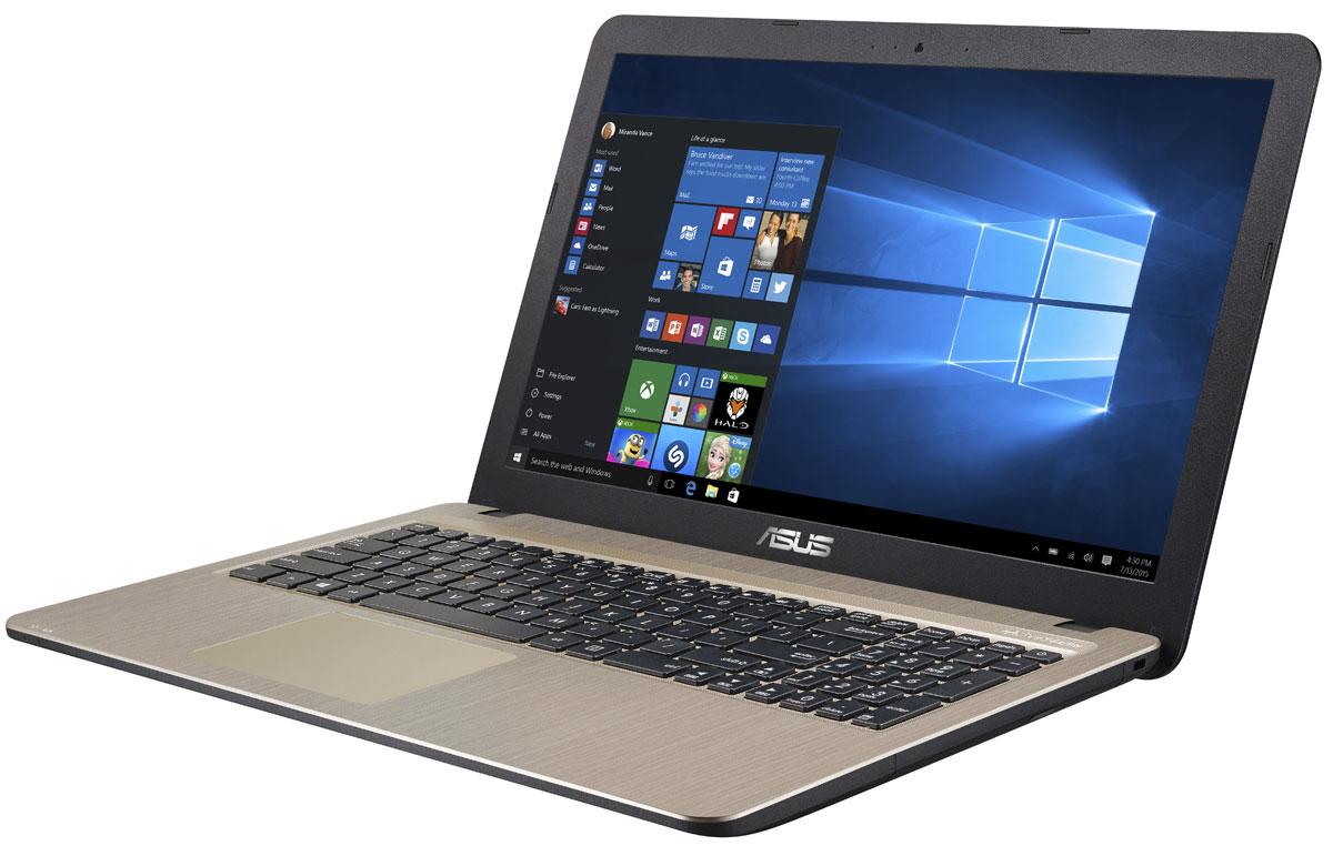 ASUS VivoBook X540SA, Chocolate Black (X540SA-XX032T)90NB0B31-M00800Asus VivoBook X540SA - это современный стильный ноутбук для ежедневного использования как дома, так и в офисе.Для быстрого обмена данными с периферийными устройствами X540SA предлагает высокоскоростной порт USB 3.1 (5 Гбит/с), выполненный в виде обратимого разъема Type-C. Его дополняют традиционные разъемы USB 2.0 и USB 3.0. В число доступных интерфейсов также входят HDMI и VGA, которые служат для подключения внешних мониторов или телевизоров, и разъем проводной сети RJ-45. Кроме того, у данной модели имеется кард-ридер формата SD/SDHC/SDXC. Благодаря эксклюзивной аудиотехнологии SonicMaster встроенная аудиосистема ноутбука может похвастать мощным басом, широким динамическим диапазоном и точным позиционированием звуков в пространстве. Кроме того, ее звучание можно гибко настроить в зависимости от предпочтений пользователя и окружающей обстановки. Круглые динамики с большими резонансными камерами (19,4 см3) обеспечивают улучшенную передачу низких частот и пониженный уровень шумов. Для настройки звучания служит функция AudioWizard, предлагающая выбрать один из пяти вариантов работы аудиосистемы, каждый из которых идеально подходит для определенного типа приложений (музыка, фильмы, игры, звукозапись и воспроизведение голоса).Ноутбук Asus X540SA выполнен в прочном, но легком корпусе весом всего 1,73 кг, поэтому он не будет обременять своего владельца в дороге, а привлекательный дизайн и красивая отделка корпуса превращают его в современный, стильный аксессуар.В данной модели реализована разработанная специалистами Asus технология Splendid, позволяющая выбрать один из нескольких предустановленных режимов работы дисплея, каждый из которых оптимизирован под определенные приложения: режим Vivid подходит для просмотра фотографий и фильмов, режим Normal - для обычной работы в офисных приложениях, а в специальном режиме Eye Care реализована фильтрация синей составляющей видимого спектра для повышения комфорта 