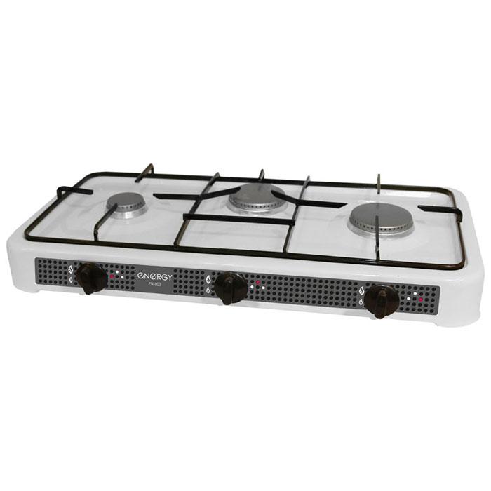Energy EN-003, White настольная плита54 144027Energy EN-003 - компактная настольная плита, которая работает на сжиженном нефтяном газе. 3 конфорки позволят вам приготовить еду для всей семьи. Благодаря своим габаритам, данная модель отлично подойдет для небольшой кухни на даче. Она изготовлена из качественных материалов и прослужит вам долгое время.Давление газа: 2800 PaМощность: 2 x 3200 Вт + 2500 Вт