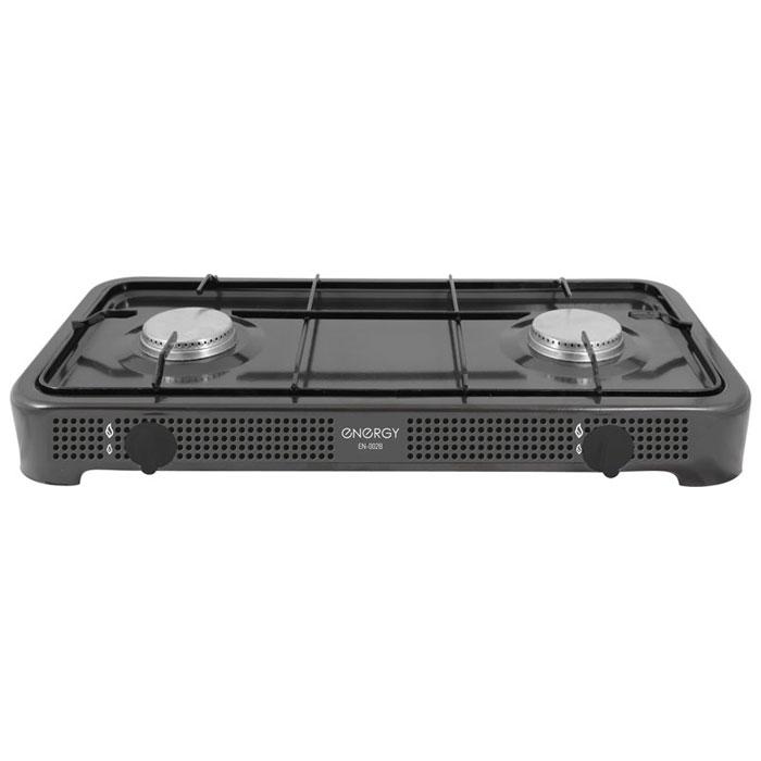 Energy EN-002B, Black настольная плита54 144034Energy EN-002B - компактная настольная плита, которая работает на сжиженном нефтяном газе. 2 конфорки позволят вам приготовить еду для небольшой семьи. Благодаря своим габаритам, данная модель отлично подойдет для маленькой кухни на даче. Она изготовлена из качественных материалов и прослужит вам долгое время.Давление газа: 2800 PaМощность: 2 x 3200 Вт