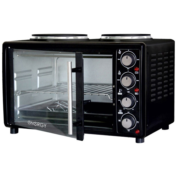 Energy GН25-В, Black мини-печь54 159997Energy GН25-В - компактная духовка с внутренним объемом 25 литров. Идеально подходит как для деликатного приготовления пищи, так и для приготовления блюд с хрустящей корочкой. Данная модель оснащена термостатом с диапазоном температур 90 - 250°С и двумя электрическими конфорками. Легко очищается, комплектуется решеткой для гриля и противнем для выпекания.Мощность конфорок: 1200 Вт, 700 ВтМощность духовки: 1400 Вт2 конфорки: 185 мм, 155 мм