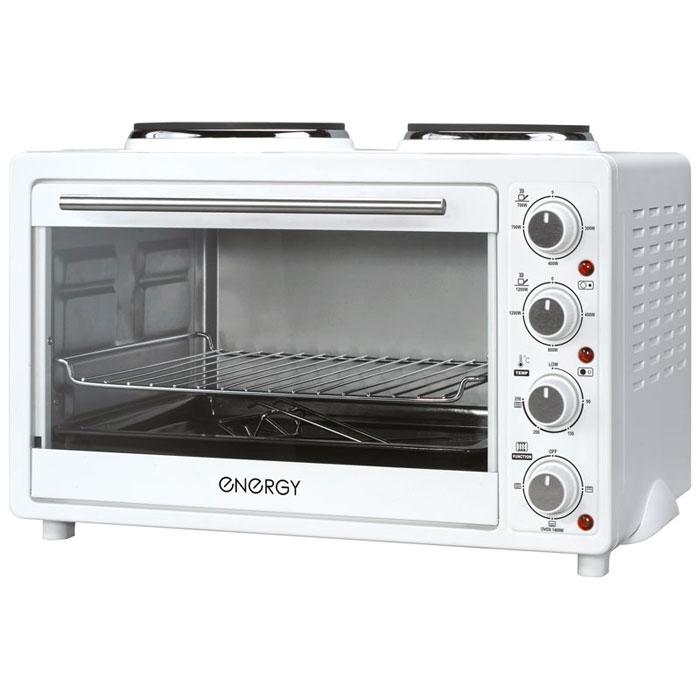 Energy GН30-W, White мини-печь54 160001Energy GН30-W - компактная электрическая духовка с внутренним объемом 30 литров. Идеально подходит как для деликатного приготовления пищи, так и для приготовления блюд с хрустящей корочкой. Данная модель оснащена термостатом с диапазоном температур 90 - 250°С и двумя электрическими конфорками. Легко очищается, комплектуется решеткой для гриля и противнем для выпекания.Мощность конфорок: 1200 Вт, 700 ВтМощность духовки: 1400 Вт2 конфорки: 185 мм, 155 мм