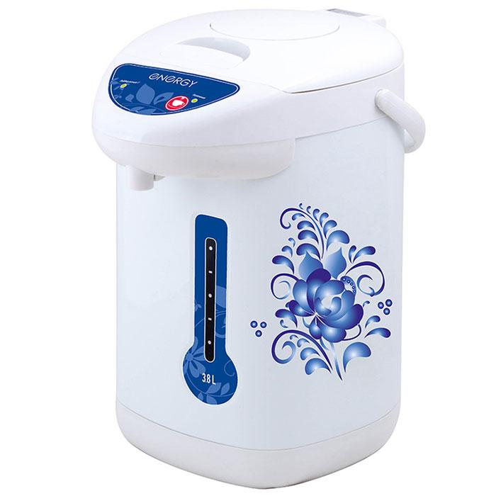 Energy TP-602, White Blue термопот54 280026Термопот Energy TP-602 поможет не только вскипятить или подогреть воду, но и сохранить ее температуру на заданном уровне в течение нескольких часов. Благодаря этому вы избавите себя от частого подогрева воды, что, в свою очередь, обеспечит вполне реальную экономию электроэнергии. Данная модель разработана специально для тех, кому постоянно необходимо иметь в доме запас горячей воды.Мощность в режиме поддержания температуры: 35 Вт3 способа подачи воды: автоматическая (нажатием кнопки, нажатием чашкой) и ручная (помпа)Быстрое кипячение водыНержавеющая стальная колбаСъемный шнур питания