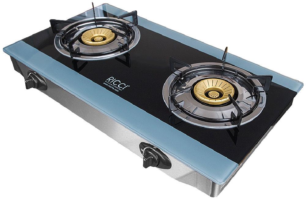 Ricci RGH-604B, Blue Black настольная плита17 RGH-604BRicci RGH-604B - газовая плитка, обладающая элегантным дизайном и оснащенная двумя конфорками разного диаметра, позволяющими одновременно готовить два блюда. Ее корпус выполнен из нержавеющей стали, для оформления рабочей поверхности использована прочная и не требующая сложного ухода стеклокерамика. Прибор предназначен для установки на столе, источником сжиженного газа для плитки является баллон. Управление устройством - механическое, осуществляется с помощью поворотных переключателей, а пламя зажигается пьезоподжигом.Благодаря небольшим размерам и малому весу газовую плитку можно без особых сложностей перемещать с места на место, а также увезти за город, на дачу. Она отличается надежностью, безопасностью, простотой обслуживания.Номинальное давление - 2900 Па
