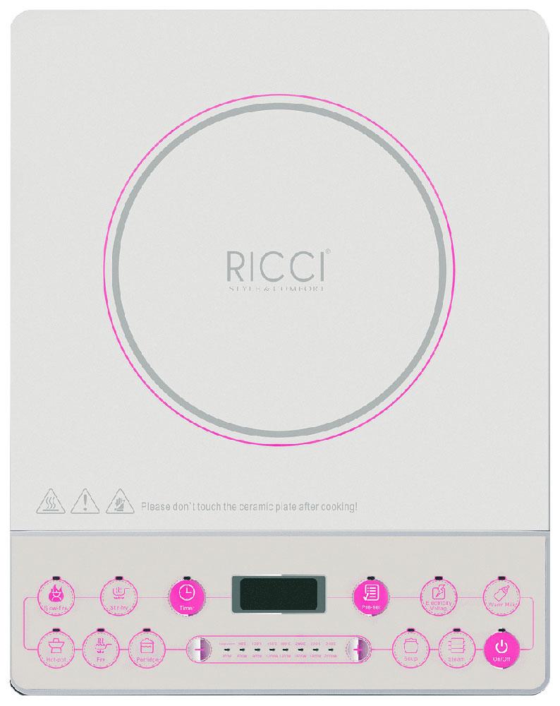 Ricci JDL-C21E3, White Pink индукционная настольная плита17 JDL-C21E3Индукционная настольная плита Ricci JDL-C21E3 имеет современный дизайн и качественное исполнение. Варочная поверхность сделана из высококачественного закаленного стекла оснащена одной индукционной конфоркой. Дисплей и кнопки расположены на панели впереди. Чтобы не забыть проверить готовящееся на плите блюдо, установите таймер (до 180 минут). Данная модель также оснащена функцией блокировки от детей.Цифровой дисплей8 уровней мощности8 программ приготовления Таймер, светодиодный дисплей (0-180 минут)Прочное стеклоBlack Crystal