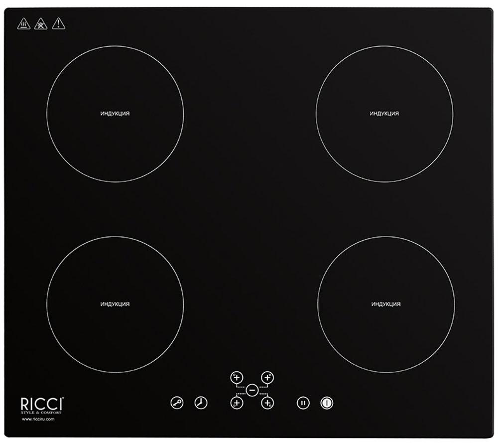 Ricci RIH-7001, Black индукционная варочная панель72 RIH-7001Ricci RIH-7001 - индукционная варочная панель, которая занимает главное место на любой кухне. Надежная стеклокерамическая поверхность черного цвета, органично впишется в любой интерьер, а также удивит вас простотой очистки.Панель имеет индукционные 4 конфорки разной мощности и диаметра, которые отличаются высокой скоростью нагрева, энергоэффективностью и надежностью. Кроме того конфорки оснащены индикацией остаточного тепла и функцией защитного отключения. Удобная панель управления сенсорного типа располагается спереди и обеспечивает тонкую настройку мощности нагрева каждой конфорки. При необходимости можно заблокировать всю панель при помощи кнопки защита от детей.Мощность конфорок: 2 зоны 2000 Вт + 2 зоны 1500 ВтДиаметр конфорок: 140 мм; 180 мм; 140 мм; 180 мм