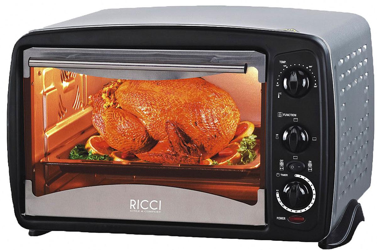 Ricci TO-28 CRKSL мини-печь17 TO-28CRKSLRicci TO-28 CRKSL - компактная духовка с внутренним объемом 28 литров. Идеально подходит как для деликатного приготовления пищи, так и для приготовления блюд с хрустящей корочкой. Данная модель оснащена термостатом с диапазоном температур 100 - 250°С . Легко очищается, комплектуется решеткой для гриля и противнем для выпекания.