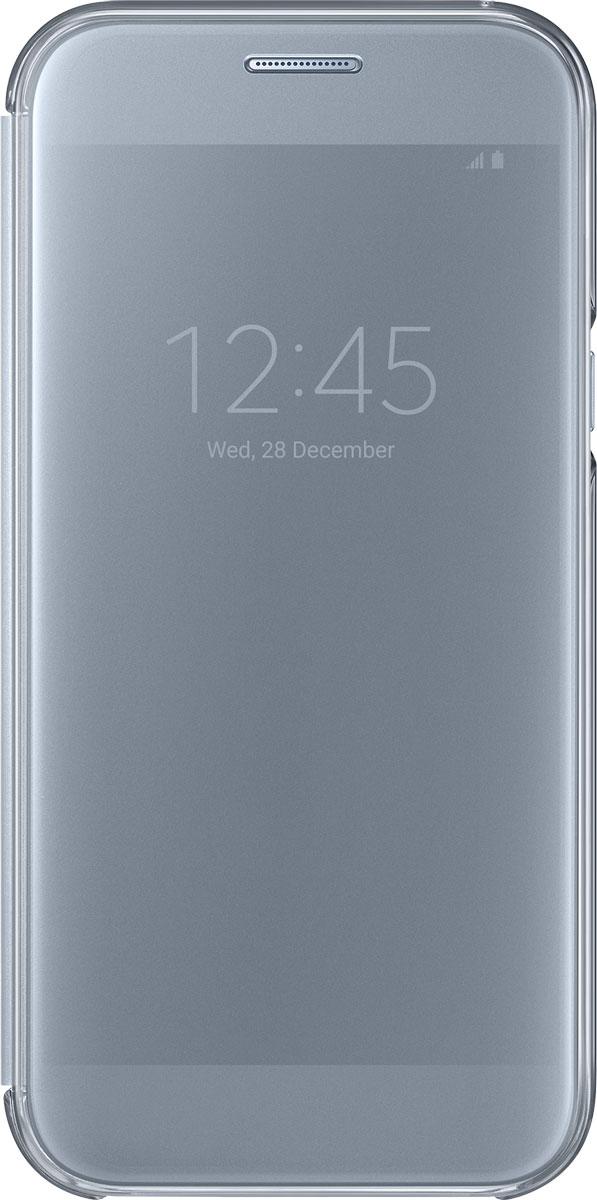 Samsung EF-ZA520 ClearView чехол для Galaxy A5 (2017), BlueEF-ZA520CLEGRUSamsung ClearView, созданный специально для модели смартфона Galaxy A5 2017, позволяет идти в ногу со временем и является одной из разновидностей умных чехлов. Чехол надежно защищает смартфон со всех сторон, включая экран, от царапин, пыли и повреждений. При этом защиту экрана обеспечивает прозрачная крышка из оргстекла, покрытого лаком. Она настолько функциональна, что сквозь нее виден весь дисплей целиком. Так вы всегда будете в курсе происходящего: новостей, времени, погоды, входящих сообщений и уведомлений. Чехол на страже вашего времени - при звонке не нужно открывать чехол - прозрачная лаковая поверхность чехла реагирует на прикосновения и позволяет вам ответить на важные звонки, не открывая крышки смартфона.