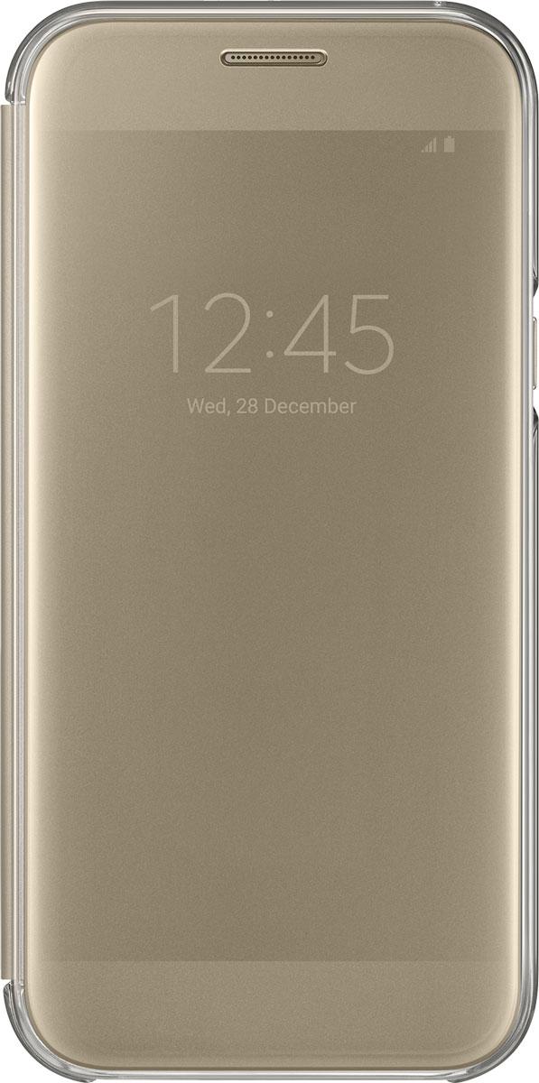 Samsung EF-ZA520 ClearView чехол для Galaxy A5 (2017), GoldEF-ZA520CFEGRUSamsung ClearView, созданный специально для модели смартфона Galaxy A5 2017, позволяет идти в ногу со временем и является одной из разновидностей умных чехлов. Чехол надежно защищает смартфон со всех сторон, включая экран, от царапин, пыли и повреждений. При этом защиту экрана обеспечивает прозрачная крышка из оргстекла, покрытого лаком. Она настолько функциональна, что сквозь нее виден весь дисплей целиком. Так вы всегда будете в курсе происходящего: новостей, времени, погоды, входящих сообщений и уведомлений. Чехол на страже вашего времени - при звонке не нужно открывать чехол - прозрачная лаковая поверхность чехла реагирует на прикосновения и позволяет вам ответить на важные звонки, не открывая крышки смартфона