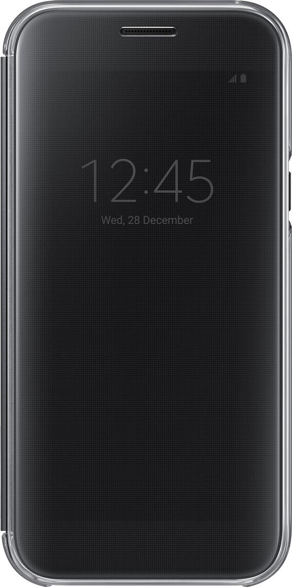 Samsung EF-ZA520 ClearView чехол для Galaxy A5 (2017), BlackEF-ZA520CBEGRUSamsung ClearView, созданный специально для модели смартфона Galaxy A5 2017, позволяет идти в ногу со временем и является одной из разновидностей умных чехлов. Чехол надежно защищает смартфон со всех сторон, включая экран, от царапин, пыли и повреждений. При этом защиту экрана обеспечивает прозрачная крышка из оргстекла, покрытого лаком. Она настолько функциональна, что сквозь нее виден весь дисплей целиком. Так вы всегда будете в курсе происходящего: новостей, времени, погоды, входящих сообщений и уведомлений. Чехол на страже вашего времени - при звонке не нужно открывать чехол - прозрачная лаковая поверхность чехла реагирует на прикосновения и позволяет вам ответить на важные звонки, не открывая крышки смартфона.