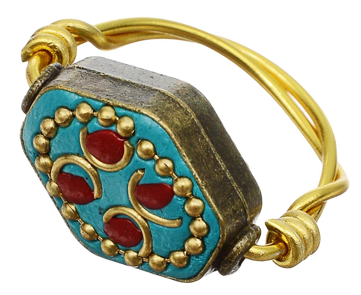 Кольцо Bradex Испанская мозаика, цвет: золотой. AS 0038. Размер 17Коктейльное кольцоОригинальное кольцо в этническом стиле Bradex Испанская мозаика выполнен из меди, на верхушке украшен камнем туркуаз и декорирован медными каплями и вставками.