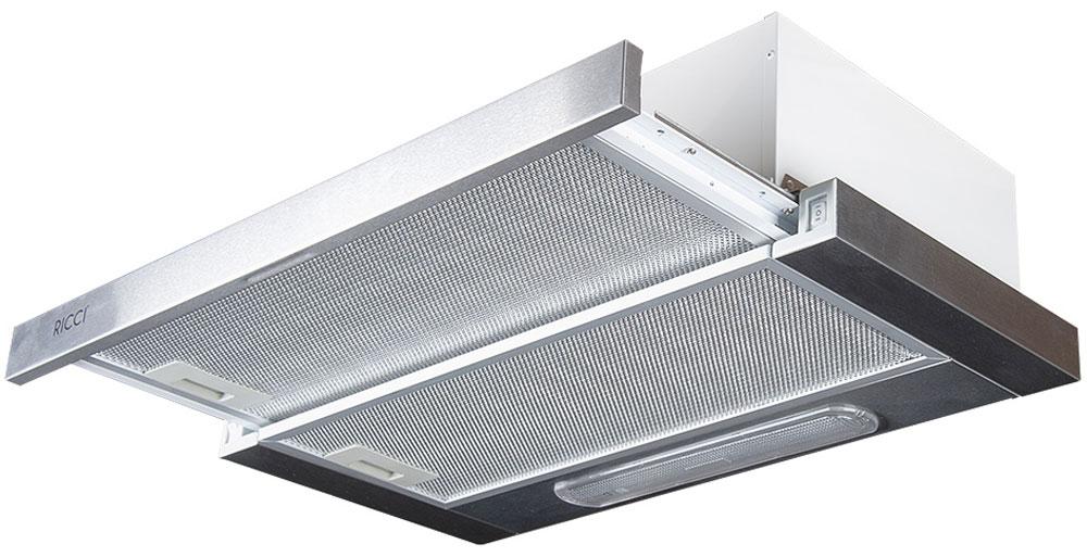 Ricci RRH-0360-S вытяжкаRICCI RRH-0360-SВытяжка Ricci RRH-0360-S поможет вам эффективно решить проблему очистки воздуха. Она осуществляет работу в режимах отвода или рециркуляции воздуха. Вытяжка сочетает в себе качество, функциональность и элегантный дизайн, что делает ее отличным дополнением для вашей кухни.Пятислойный алюминиевый фильтр предназначен для защиты двигателя, вентиляторов и отводящих труб от скопления мельчайших частичек жира, попадающих в в воздух во время приготовления пищи. 2 скорости работы 2 лампы по 40 ВтВоздуховод: 120 мм