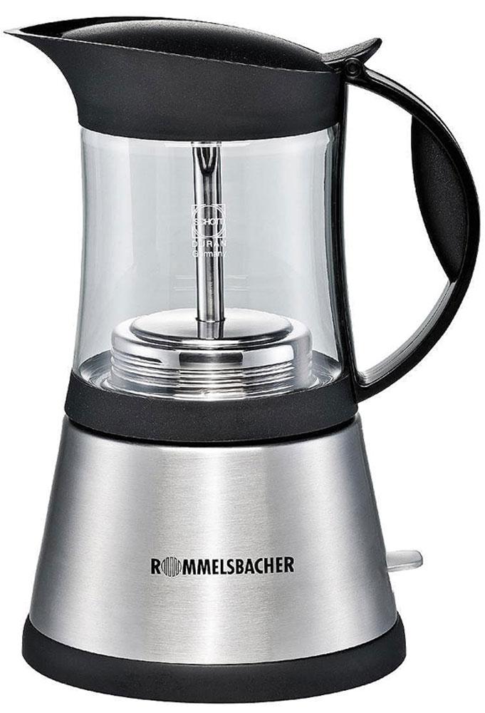 Rommelsbacher EKO 376/G, Silver кофеварка эспрессоEKO 376/GКофеварка гейзерная Rommelsbacher EKO 376/G для приготовления 3 или 6 чашек традиционного итальянского эспрессо. Корпус из нержавеющей стали, кувшин для кофе из термостойкого стекла Schott Duran (Германия). Резервуар для воды объемом 0.3 литра со шкалой заполнения.