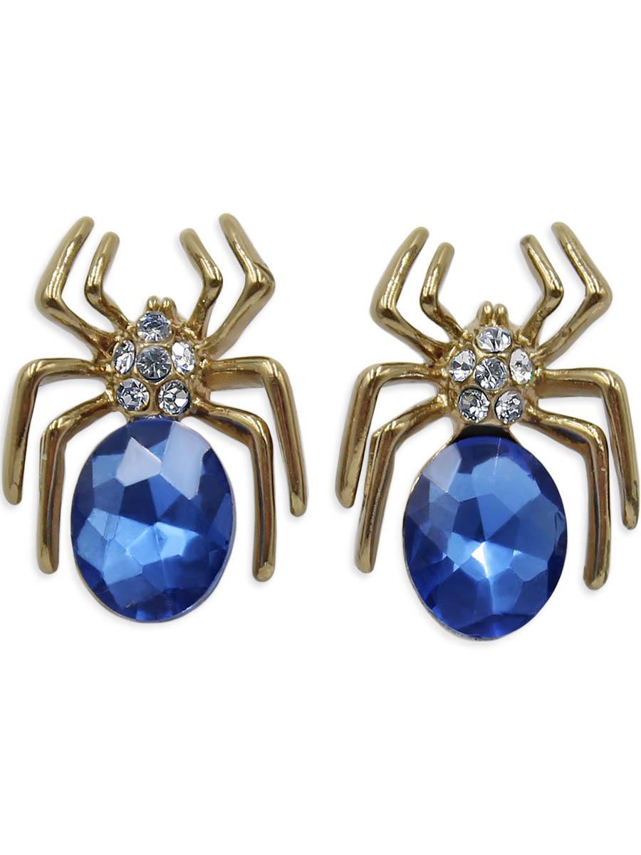 Серьги Taya, цвет: золотистый. T-B-12344Пуссеты (гвоздики)Паучки с синим кристаллом и золотыми лапками выглядят очень натурально. Серьги-гвоздики с заглушкой металл-пластик.