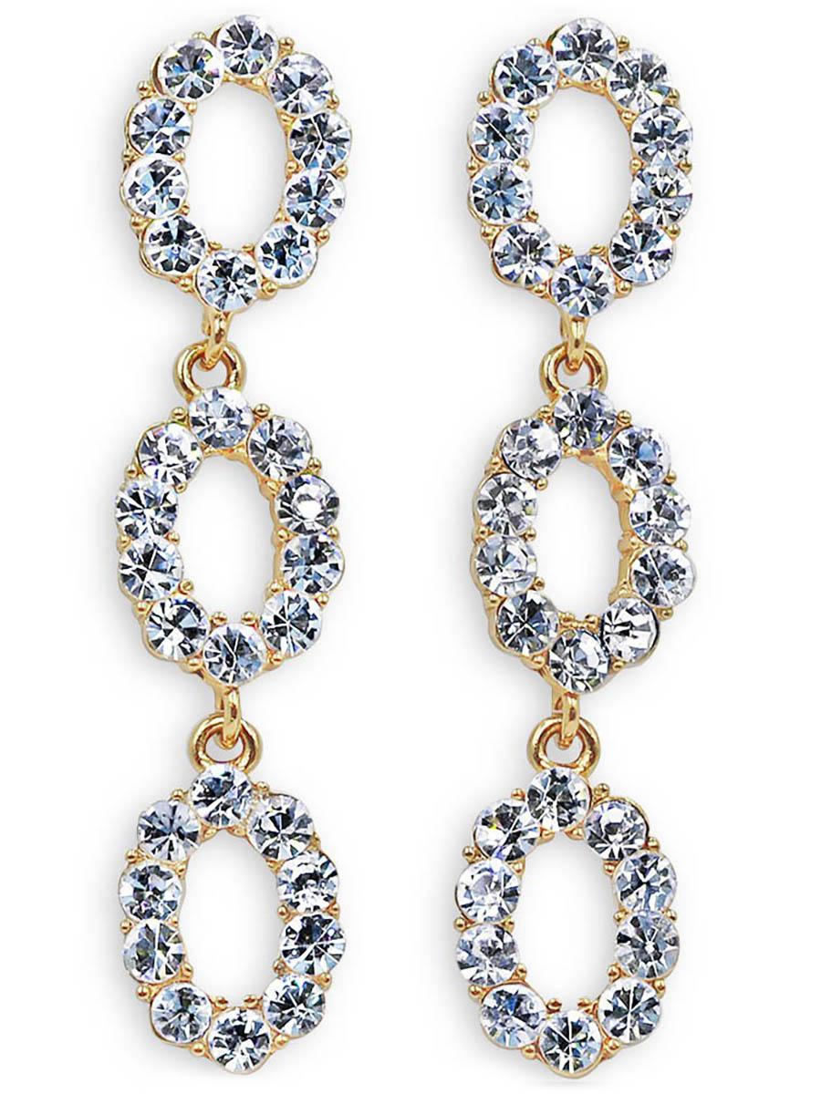 Серьги Taya, цвет: золотистый. T-B-12348Серьги с подвескамиСерьги-гвоздики с заглушкой металл-пластик изготовлены из бижутерного сплава. Серьги словно собраны из кристаллов. Изделие состоит из трех блестящих колец, соединенных между собой.