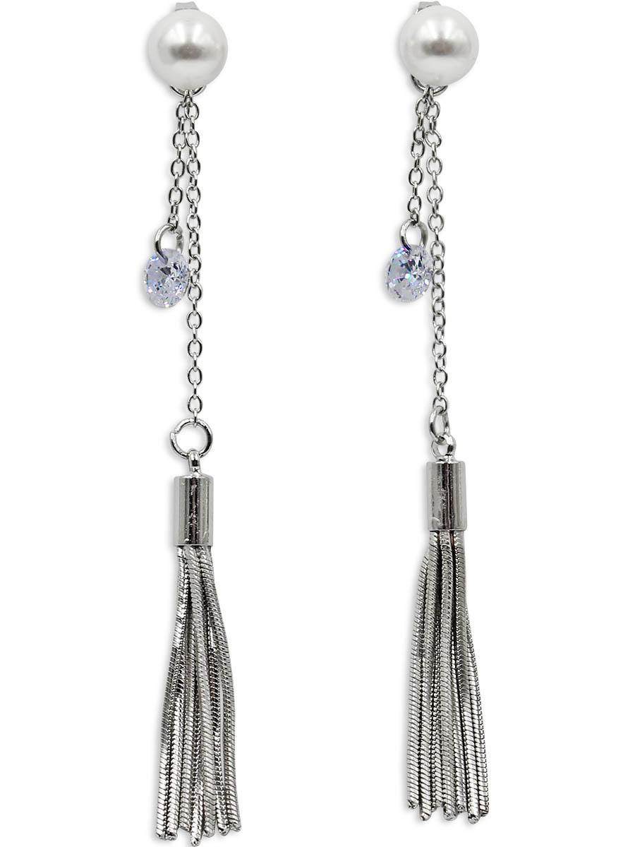 Серьги Taya, цвет: серебристый. T-B-1235339859 Пуссеты (гвоздики)Стильные серьги с застежкой-гвоздик изготовлены из бижутерного сплава. Два украшения в одном: жемчужину на штифте можно носить отдельно, например, на работу или учебу. Вечером на штифт смело можно одеть цепь с кисточкой и кристаллом.