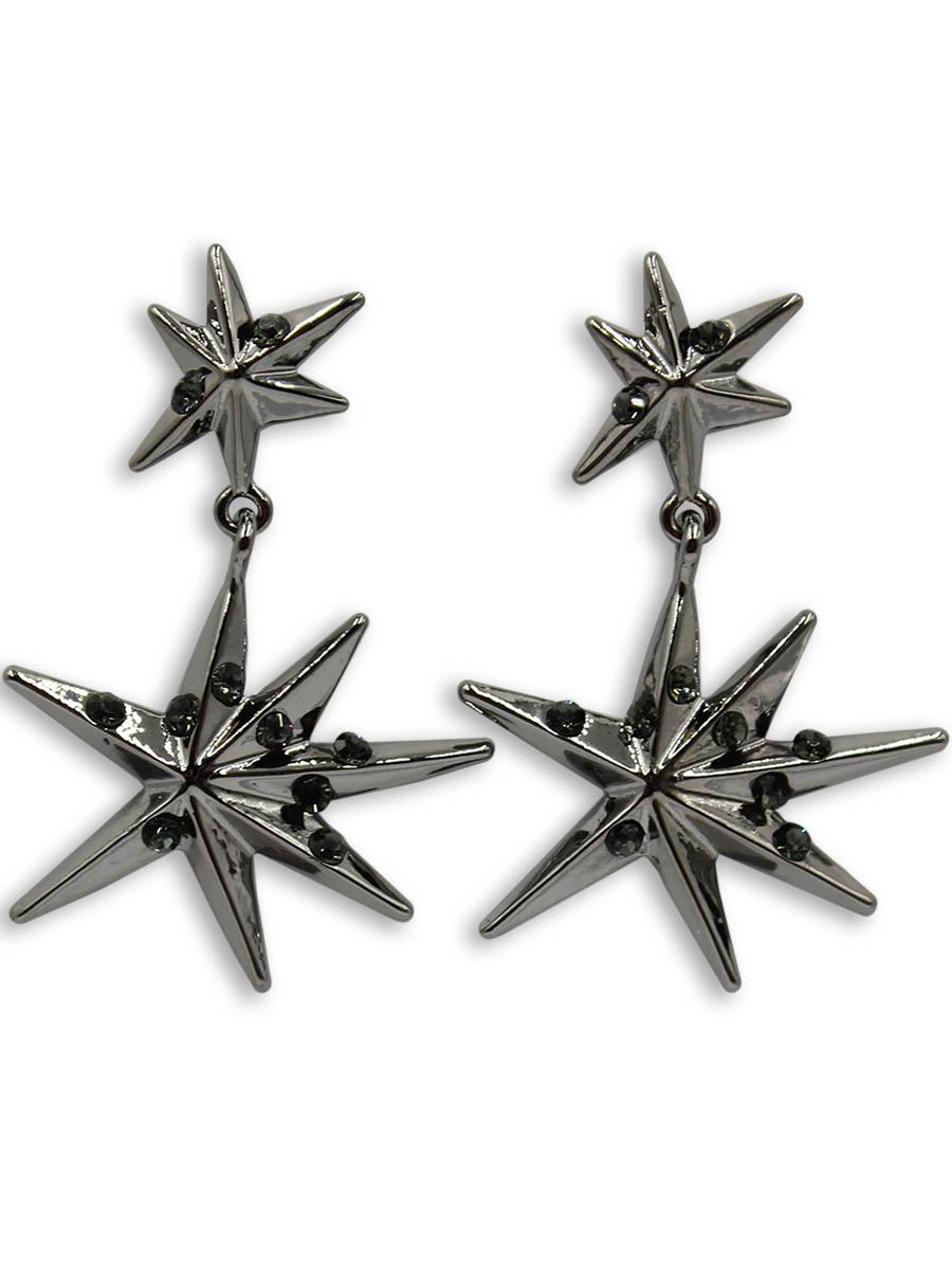 Серьги Taya, цвет: хематит. T-B-12366Серьги с подвескамиСерьги-гвоздики с заглушкой металл-пластик изготовлены из бижутерного сплава. Две звезды с лучами разной длины и стразами соединены между собой. Звездочки объемные и подвижные.