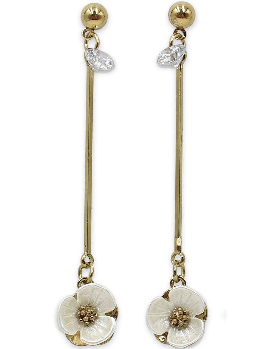 Серьги Taya, цвет: золотистый, перламутровый. T-B-12374Пуссеты (гвоздики)Серьги-гвоздики с заглушкой металл-пластик изготовлены из бижутерного сплава. Столбик сережек украшен конусовидным кристаллом, цветок на тарелочке выполнен из натурального перламутра, он нежный и бархатный.