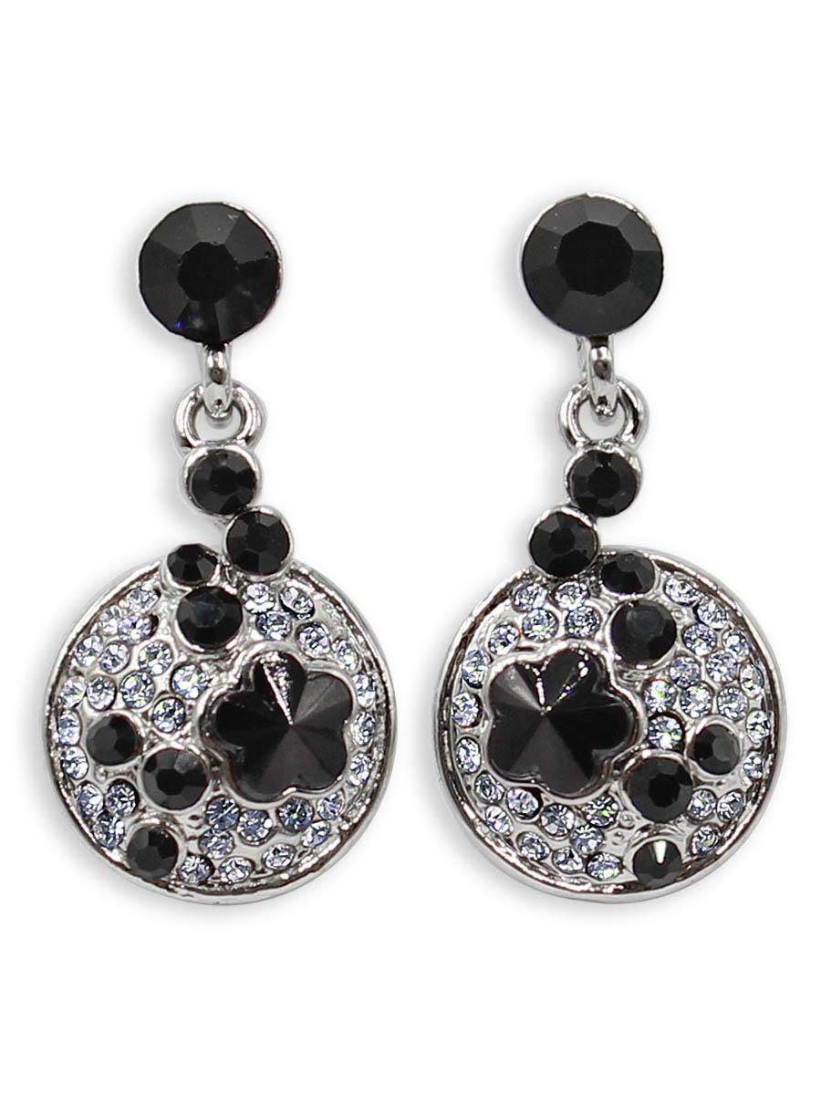 Серьги Taya, цвет: серебристый, черный. T-B-12380Пуссеты (гвоздики)Серьги-гвоздики с заглушкой металл-пластик изготовлены из бижутерного сплава. Некрупные, скромные серьги с черными кристаллами. Идеальны на каждый день.