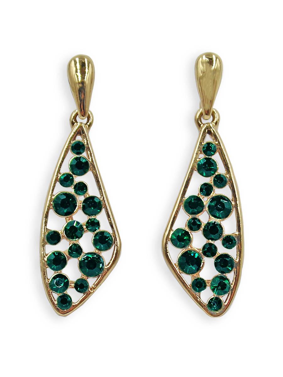 Серьги Taya, цвет: золотистый, зеленый. T-B-12382Серьги с подвескамиСерьги-гвоздики с заглушкой металл-пластик изготовлены из бижутерного сплава. Нестандартной формы капля усыпана разного размера изумрудными кристаллами.