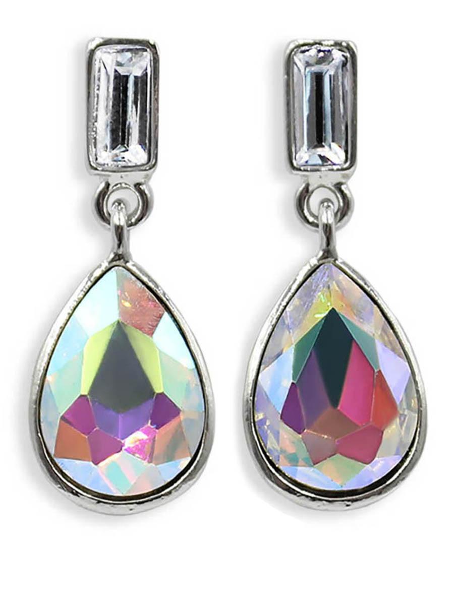 Серьги Taya, цвет: серебристый, разноцветный. T-B-12389Пуссеты (гвоздики)Серьги-гвоздики с заглушкой металл-пластик изготовлены из бижутерного сплава. Милые серьги на каждый день с каплевидным кристаллом.