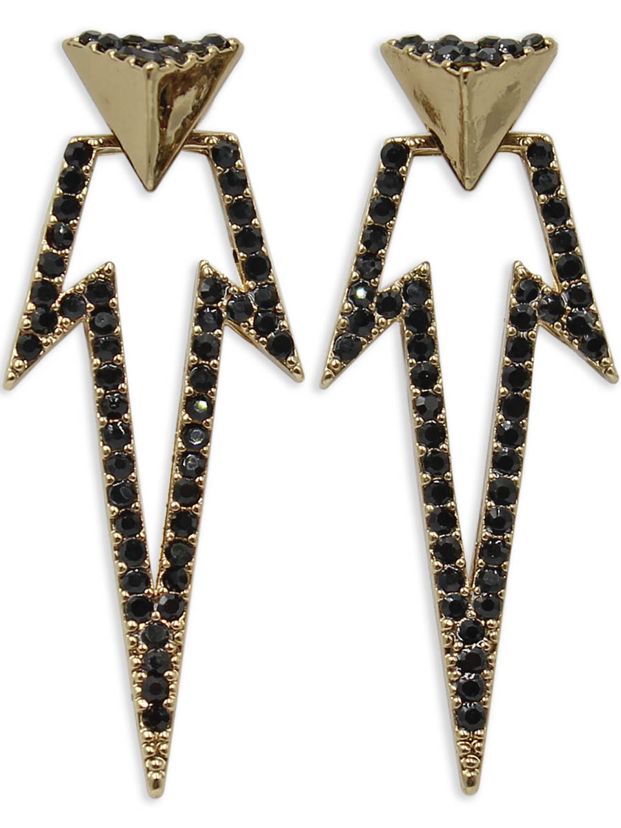 Серьги Taya, цвет: черный, золотистый. T-B-12399Пуссеты (гвоздики)Серьги-гвоздики с заглушкой металл-пластик изготовлены из бижутерного сплава. Сделаны из двух частей: пирамиды, которую можно носить самостоятельно и треугольной подвески в виде молнии, которая одевается на штифт. Серьги оформлены сверкающими стразами.