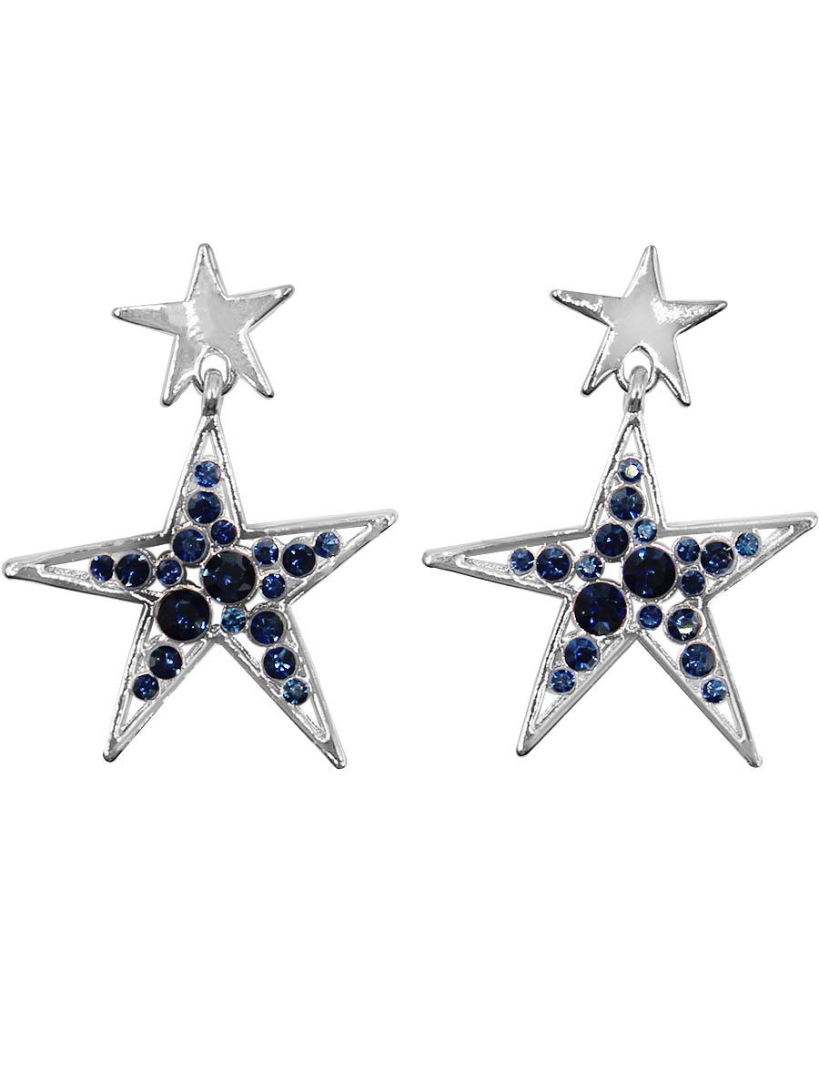 Серьги Taya, цвет: серебристый, темно-синий. T-B-12408Серьги с подвескамиСерьги-гвоздики с заглушкой металл-пластик изготовлены из бижутерного сплава. Сережки выполнены в форме звездочки, которая оформлена инкрустацией из страз.